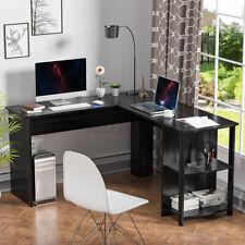 Corner L Shape Computer Desk Office Table Gaming Home Workstation With Shelves