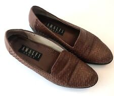 Amalfi Womens 7.5 B Italian Brown Woven Leather Loafers Flats Slip On Weave Shoe