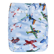 New Reusable Modern Cloth Nappy MCN + FREE insert – Cute Blue Planes & Clouds