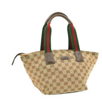 GUCCI Web Sherry Line Tote Bag Beige Red Green Auth yk570