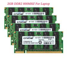 Crucial 2RX8 RAM 8 GB 4x 2GB PC2-6400 Laptop Sodimm Memory DDR2 800MHz 200pin =