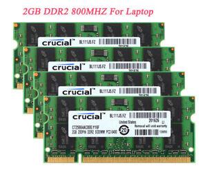 8 GB Crucial 2GB x4pcs 2RX8  PC2-6400 Laptop Sodimm Memory DDR2 800MHz RAM KITS