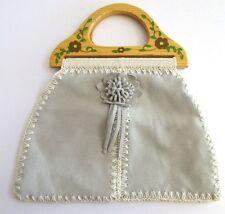 Suede Purse Handbag Wood Handles Handpainted Floral  12 inch Snap Close