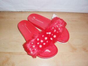 BNWT Primark ladies red faux fur summer mules - various sizes