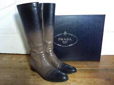 Original Prada Leder Stiefel, ombre schwarz taupe, 40,5, NP 850 €