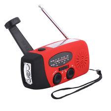 Portable Waterproof Solar AM/FM Radio Hand Crank LED Phone Charger Bank Boombox