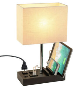 Dreamholder Desk Lamp with 3 USB Charging Ports, 2 AC Outlets and 3 Phone Modern