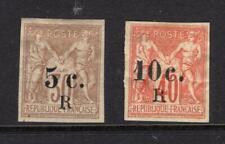 Reunion 1885 5c & 10c Surcharges - OG MH, fault - SC# 7&9     No Reserve!