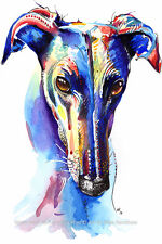Greyhound Whippet Lurcher art print gifts gift painting poster, Mounting Options