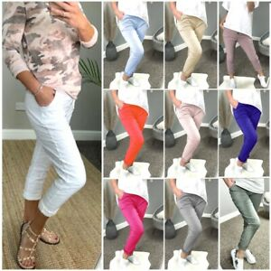 Women's Ladies Stretch Pocket Magic Italian Trousers Pants New UK