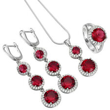 Vogue 925 Silver Filled Ruby Crystal Necklace Pendant Rings Earrings Jewelry Set