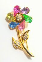 Vintage Joan Rivers Spinning Petal Crystal Flower Brooch. GORGEOUS!