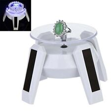 Solar Powered 360 Rotating Phone Jewelry Display Stand Turn Table LED Light