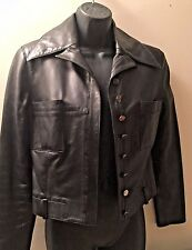 LAGERFELD  BROWN WOMEN LEATHER JACKET ,2 POCKETS IN FRONT SIZE 6, MADE IN ITALY