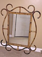 """ANTIQUE/VINTAGE BAMBOO CANE DECORATIVE WALL MIRROR THONET STYLE 37"""" x 27"""""""