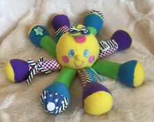 Lillian Vernon Learn To Snap Button Zip Octopus Plush Baby Sensory Colorful Toy