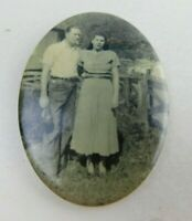 Vintage Hand Pocket Purse Mirror With Picture Of Husband Wife Country Fence