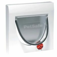 PetSafe Manual 4-Way Cat Flap Pet Door without Tunnel Classic 919 White 5031