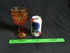 Vintage Honey Amber Color Goblet Wineglass Footed Bar Drinkware Depression Glass