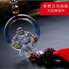 Liuli Crystal Buddha Amulet Pendant with Cord Car Hanging Ornaments