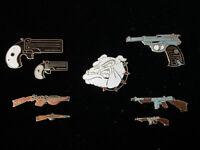 1980's Vintage Mafco Bull Dog + Gun Collection (Lot of 8) hat push pin, lapel