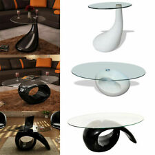 Modern High-Gloss Coffee Table Glass Table Top Side Table Living Room Furniture