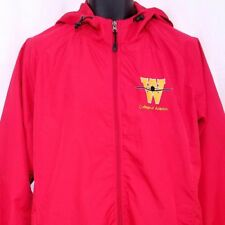College Of Aviation Mens Windbreaker Jacket Full Zip With Hood Red Size Large