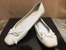 Chloe Perforated Ivory Leather white ribbon detail Moccasin Loafers Size EUR 38
