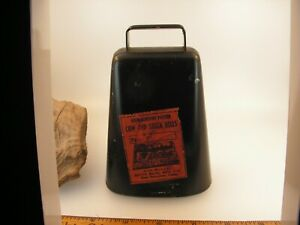 """4"""" ANTIQUE 1910 BEVIN COW BELL PAPER LABEL EAST HAMPTON BROS MFG VERY RARE"""