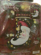 "Janlynn Christmas Holiday Cross Stitch Stocking Kit Crescent Santa #140-129,17"""