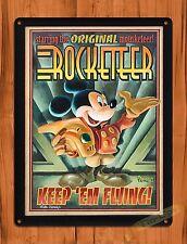"Tin Sign ""Mickey Mouse Rocketeer""  Disney Art Ride Movie Cartoon Poster"