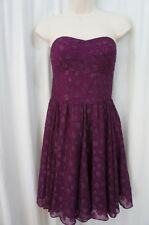 Guess Los Angeles Dress Sz 6 Magenta Dot Organza Strapless Cocktail Party Dress