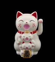 Familia Gato Japonés Amuleto de la Suerte Maneki Neko Botones 14CM-XL 341-GAR1