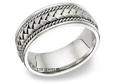 10K WHITE GOLD MENS BRAIDED WEDDING BANDS,SOLID GOLD HANDMADE WEDDING RINGS 7MM