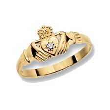 Gold Claddagh Ring Cubic Zirconia 9ct Yellow Gold LADIES RN493