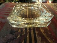 Vintage Clear Glass Ashtrays Lot of 2 Nesting Squares Retro Mid Century Modern