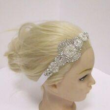 Silver Diamante Pearl Ivory Girls Baby Headband Bridesmaid Ribbon Vintage 2876