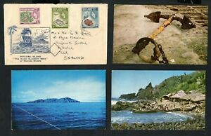 Pitcairn Islands - 1958/1959 Cover to England containing 3 x Local Postcards