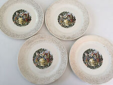 "Lot of 4 Sheffield Limoges Chantilly 1TS544, Colonial Couple - 10"" DINNER PLATE"