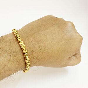 18 Kt Real Solid Yellow Gold Hallmark Men's Byzantine Bracelet 9 Gm Wide 5 MM