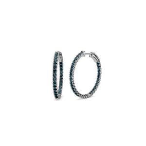 London Blue Topaz Inside-Out Hoop Earrings 1.50 Carat tw 14K White Gold JP:38755