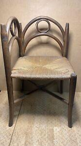 Antique Seat/Armchair D' Angle Wood Curved, 1900, Art Nouveau, Corner Of Fire