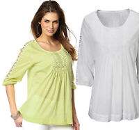 Ladies UK Plus Size 6 - 12 Cotton Tunic Tops Blouse White Lime Broderie Anglaise