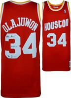 Hakeem Olajuwon NBA Rockets Signed Red Jersey with Insc - Fanatics