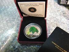CANADA 2010 $20 FINE SILVER COIN COLOURED MAPLE LEAF CRYSTAL RAINDROP