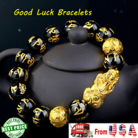 Feng Shui Black Obsidian Alloy Wealth Bracelet w/Golden Pixiu Lucky Jewelry USA