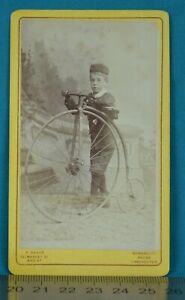 1880 CDV Carte De Visite Photo High Wheeled Bicycle Penny Farthing Manchester