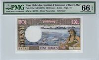 New Hebrides 1977 100 Francs PMG Certified Banknote UNC 66 EPQ Gem Pick 18d