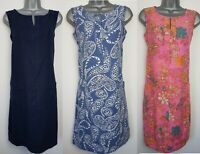 Ladies NEXT Shift Dress Linen Floral Print Navy Summer Vintage Smock Beach Size