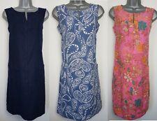 Ladies NEXT Shift Dress Linen Floral Print Navy Summer Vintage Smock Beach Size